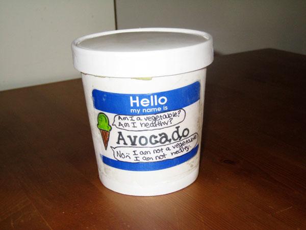 Avocado Ice Cream Carton
